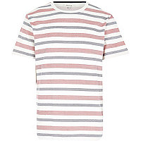 Ecru stripe herringbone crew neck t-shirt