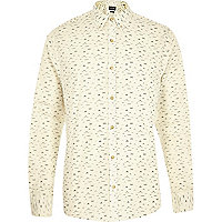 Cream Only & Sons moustache print shirt