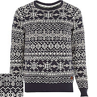 Navy Only & Sons print knitted jumper