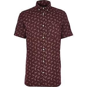 Burgundy Japanese floral print shirt