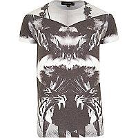 Grey tiger spliced print t-shirt
