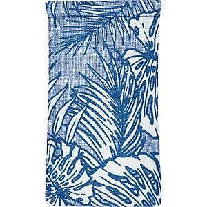 Blue palm tree print canvas sunglasses case