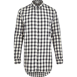 Ecru longer length check shirt