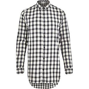 Ecru longer length check shirt