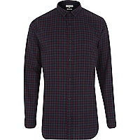 Purple check longer length shirt