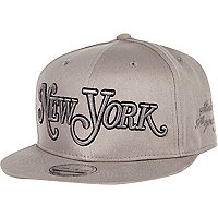 Grey New York flatpeak hat