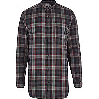 Grey check longer length grandad shirt