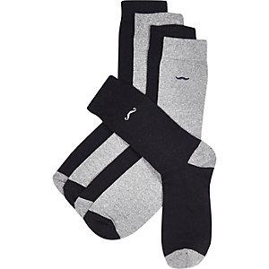 Grey moustache detail socks 5 pack