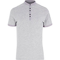 Grey high collar grandad trim t-shirt