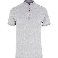 Grey high collar grandad trim t-shirt