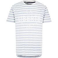 Blue liberté reverse stripe print t-shirt