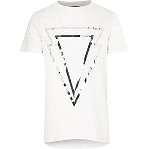 White triangle print crew neck t-shirt