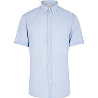 Blue retro dot short sleeve shirt