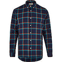 Navy grid check print long sleeve shirt