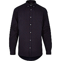 Navy long sleeve paisley print shirt