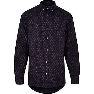 Navy long sleeve paisley print shirt