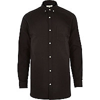 Black longer length Oxford shirt