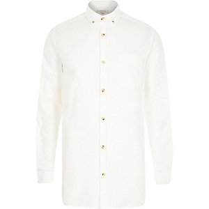 White longer length Oxford shirt