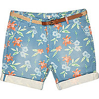 Blue Bellfield Hawaii print shorts