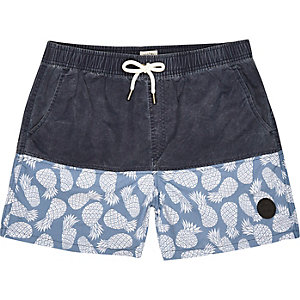 Navy Bellfield pineapple print swim shorts