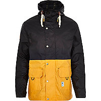 Navy Bellfield block colour parka coat