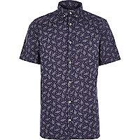 Navy Japanese floral print shirt