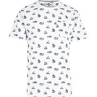 White Bellfield ship print t-shirt