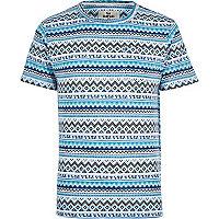 Blue Bellfield Aztec print t-shirt