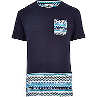 Navy Bellfield Aztec panel t-shirt
