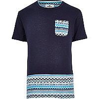 Navy Bellfield Aztec panel t-shirt