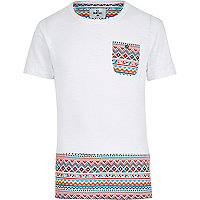 White Bellfield Aztec panel t-shirt