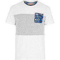 White Bellfield palm print pocket t-shirt