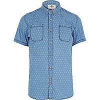 Blue Bellfield chambray triangle print shirt