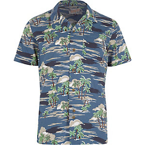 Navy Bellfield Hawaiian short sleeve shirt