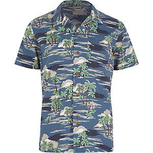 Navy Bellfield Hawaiian short sleeve shirt