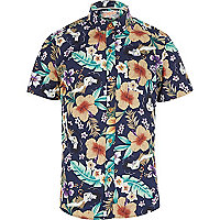 Navy Bellfield Hawaii print shirt