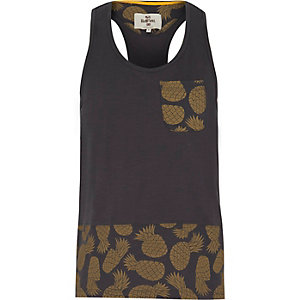Navy Bellfield pineapple print vest