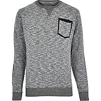 Grey marl Bellfield pocket sweatshirt