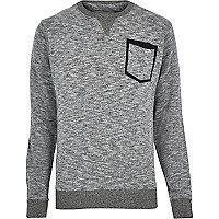 Grey marl Bellfield pocket sweatshirt