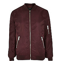 Dark red nylon zip through bomber jacket