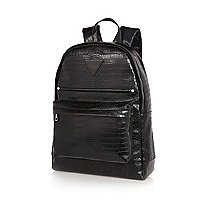Black mock croc backpack