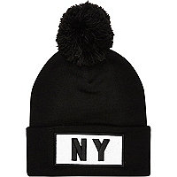 Black NYC turn up bobble hat