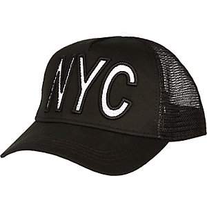 Black NYC mesh trucker cap