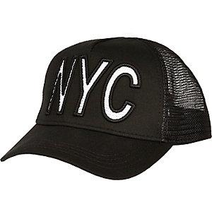 Black NYC mesh trucker cap