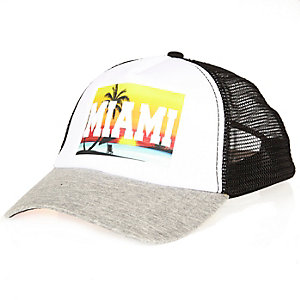White Miami print trucker cap