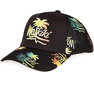 Black Wakiki print trucker cap