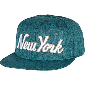 Grey textured New York flatpeak hat