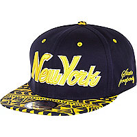 Navy New York Aztec print flatpeak hat