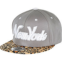Grey leopard print flatpeak hat