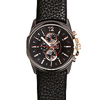 Black two dial cracked strap watch